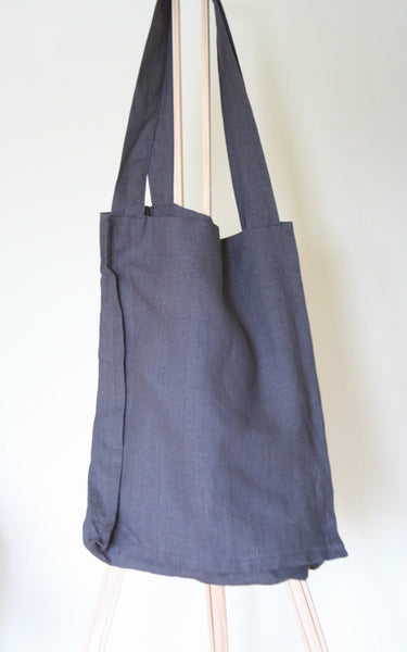 Linen Tote Bag in Charcoal Gray