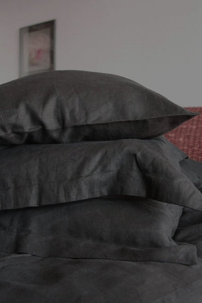 Black Linen Pillow Case