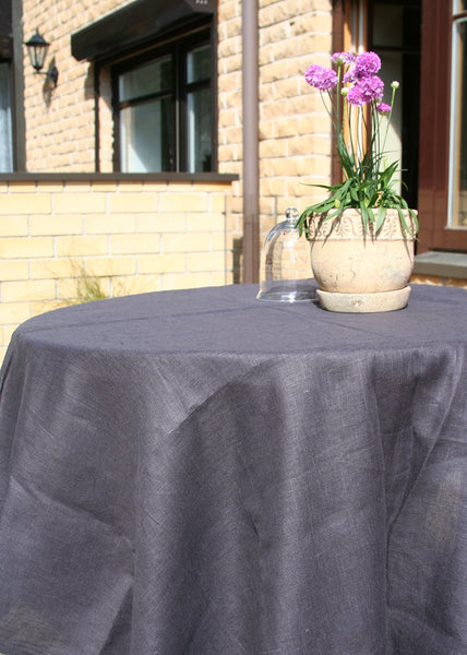 Linen Tablecloth in Taupe Color