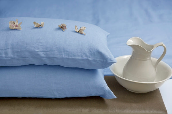 Pastel Blue Linen Pillow Case