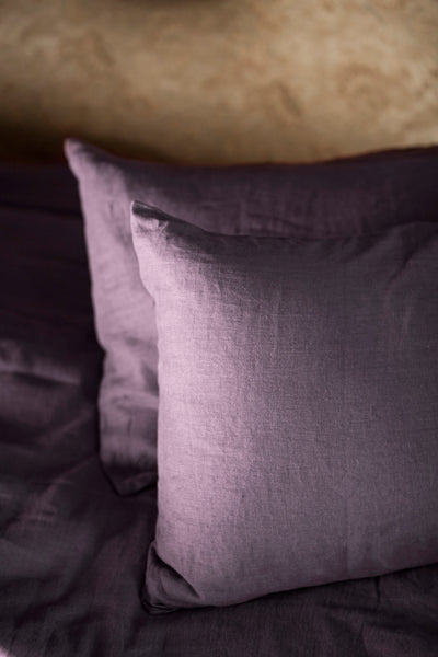 Aubergine Color Linen Pillow Case