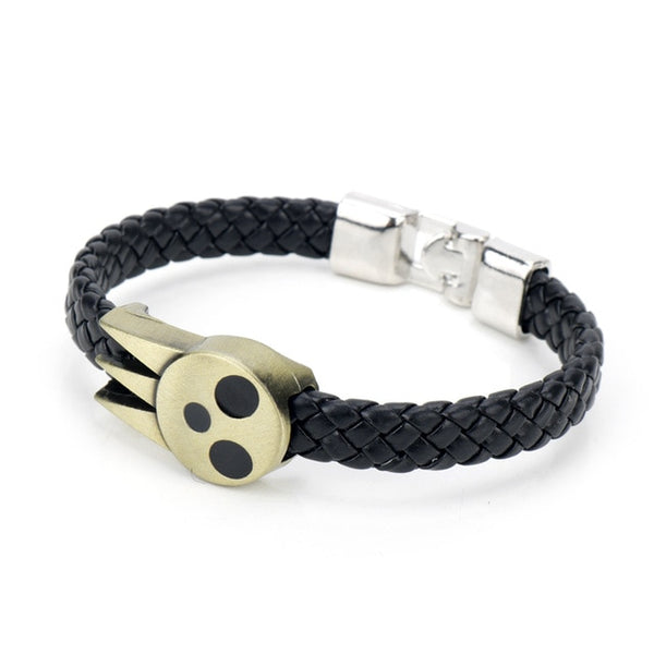 Soul Eater Death's skull leather bracelet