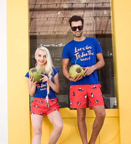 Matching penguin couple swimwear