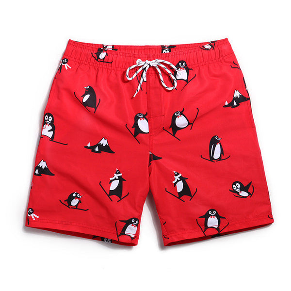 Penguin Couples Swim Trunks - Board Shorts