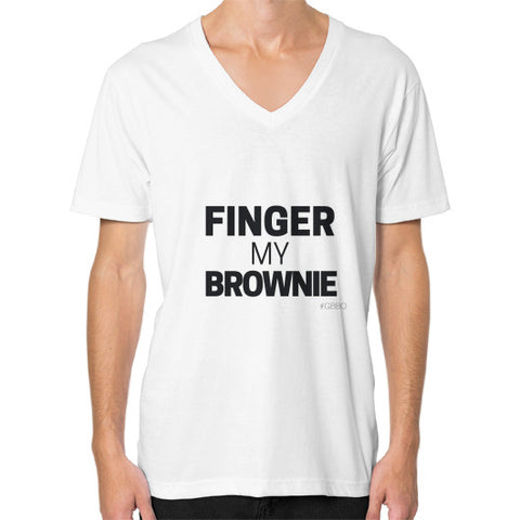 """Wanna finger my brownie?"" - Men's V-neck slim-fit short sleeve T-shirt"