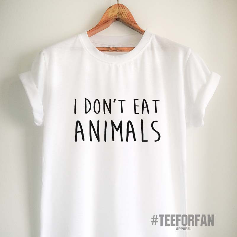 Vegan T-Shirt I Don't Eat Animals T Shirt Vegan Shirt Vegan Clothing for Women Girl Men Unisex Vegetarian Top Tee
