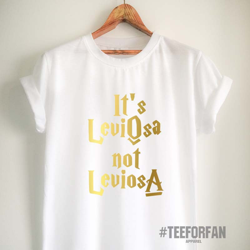 Harry Potter Shirts Harry Potter Merchandise It's LeviOsa Not LeviosA T Shirts Clothes Apparel Top Tee for Women Girls Men Gold Design