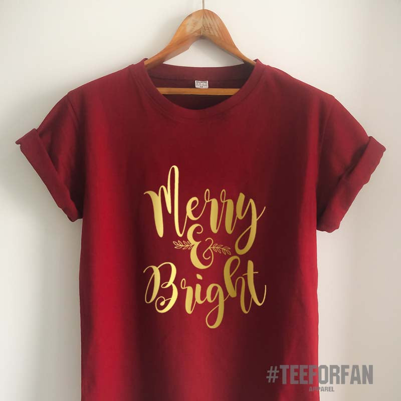 Christmas T Shirt Merry and Bright Shirt Christmas Gift Merry Christmas Shirt Christmas Clothing Unisex