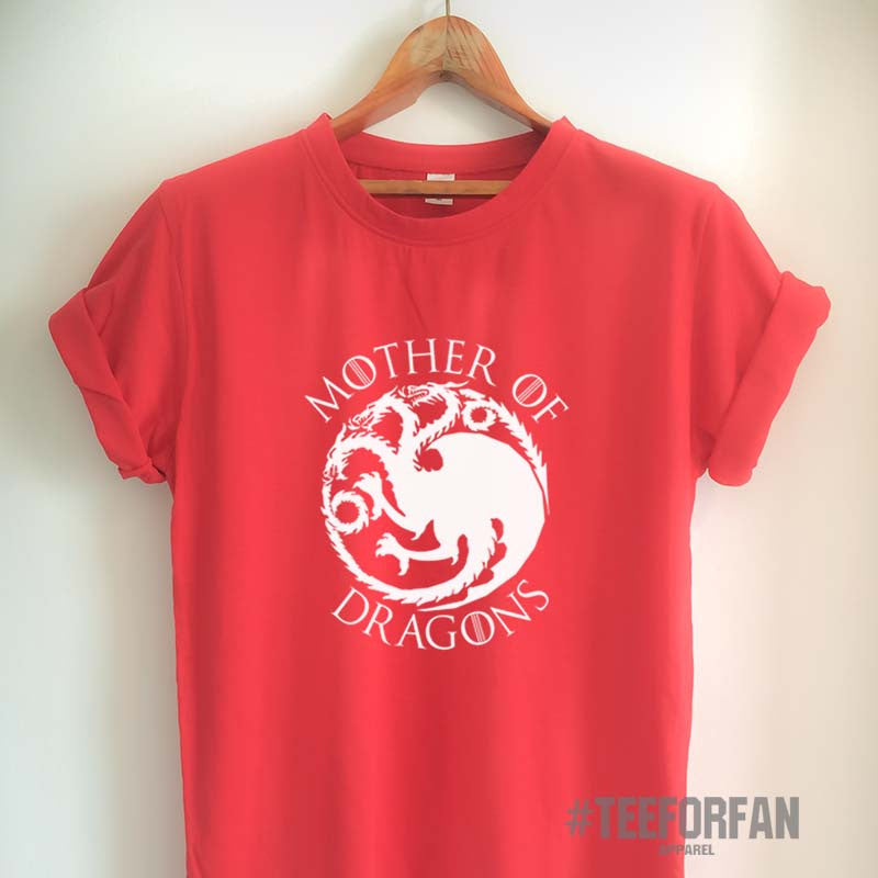 Game of Thrones T Shirt Mother of Dragons Shirt Daenerys Targaryen Khaleesi T Shirt GoT Logo Merchandise for Women Girls Men Unisex Top Tee Black/White/Grey/Red