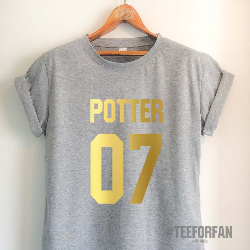 Harry Potter Shirts Harry Potter Merchandise Harry Potter Quidditch Jersey t shirts Clothes Top Tee for Women Girls Men Gold Design
