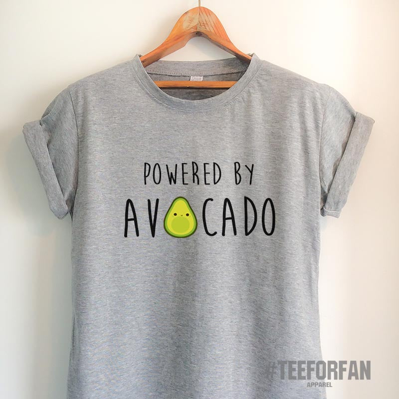 Vegan Shirt Vegan T Shirt Avocado Shirt Avocado T Shirt Powered by Avocado T Shirt Powered by Shirt Powered by T Shirt Vegetarian Top Tee