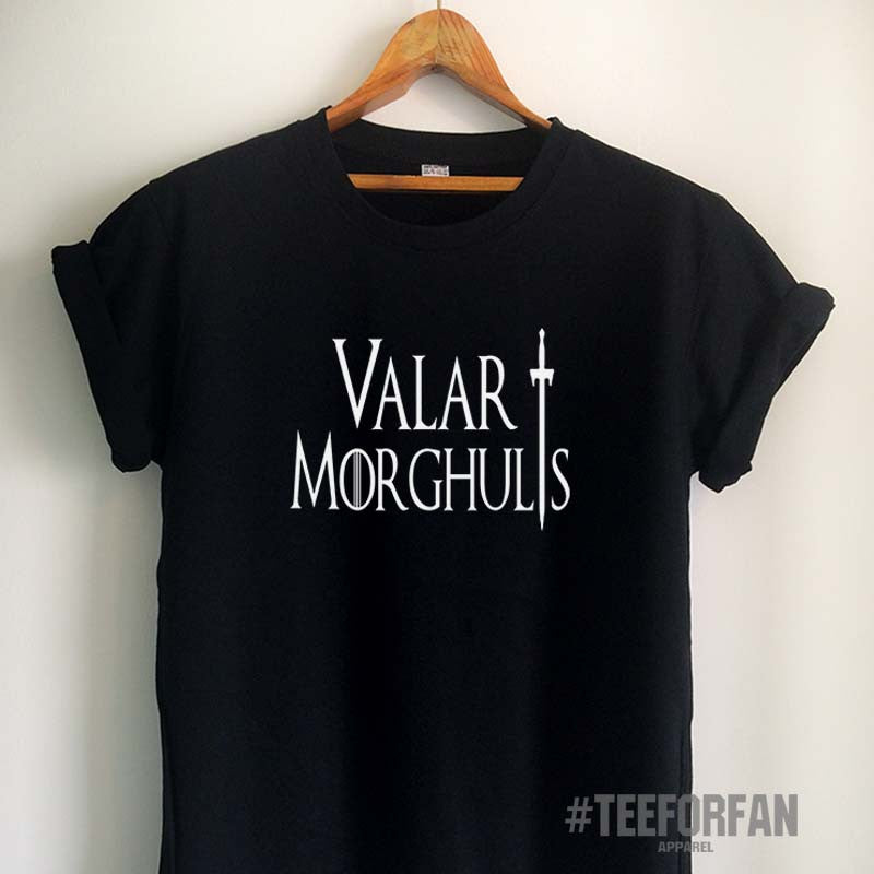 Valar Morghulis Shirt Quote Game of Thrones T Shirt Shirts Merchandise Tumblr Women Girls Men Unisex Top Tee Black/White/Grey/Red