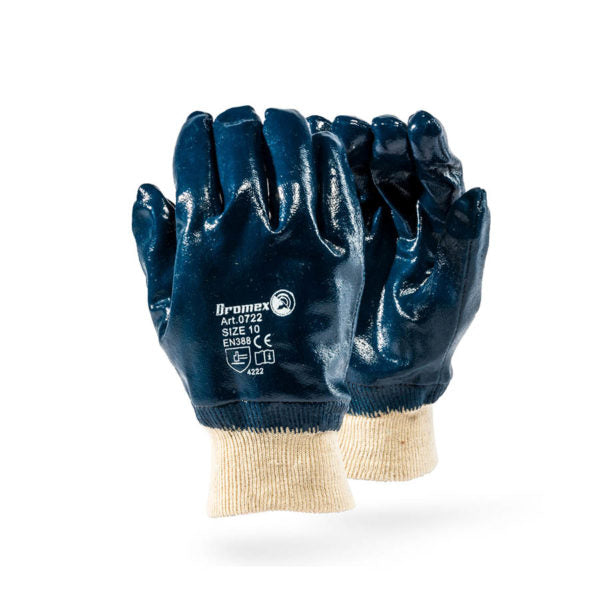 Dromex Nitrile Full Coated Glove (Knitted Wrist) - Safety Supplies  Hand Protection - PPE, Workwear, Conti Suits, Zeroflame and Acid, Safety Equipment, Safety Products - Safety supplies