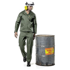 Dromex Poly Viscose Acid Resistant Suit - Olive Green - Safety Supplies  Workwear - PPE, Workwear, Conti Suits, Zeroflame and Acid, Safety Equipment, Safety Products - Safety supplies