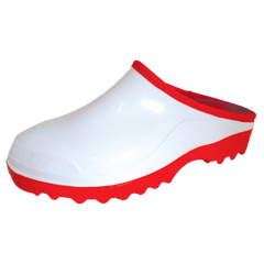 Bata Elegant White/Red Ladies Mule Gumboot