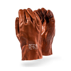 Dromex Brown rough PVC gloves, 27cm open cuff Glove - Safety Supplies  Hand Protection - PPE, Workwear, Conti Suits, Zeroflame and Acid, Safety Equipment, SAFETY SUPPLIES - Safety supplies