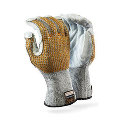 Dromex Seamless Heat & Cut Resistant Gloves -Leather Face & Fingers (with dotted back) - Safety Supplies  Hand Protection - PPE, Workwear, Conti Suits, Zeroflame and Acid, Safety Equipment, SAFETY SUPPLIES - Safety supplies