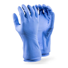 Dromex Blue 18mil (0.45mm) flock lined Household 30cm Rubber Glove - Safety Supplies  Hand Protection - PPE, Workwear, Conti Suits, Zeroflame and Acid, Safety Equipment, SAFETY SUPPLIES - Safety supplies