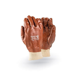 Dromex XTRA Heavy Duty Brown PVC Gloves (knitted Wrist) - Safety Supplies  Hand Protection - PPE, Workwear, Conti Suits, Zeroflame and Acid, Safety Equipment, Safety Products - Safety supplies
