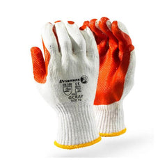 Dromex A Deep Orange Groove Rubber Laminated on 7gg Cotton Crochet Liner Glove - Safety Supplies  Hand Protection - PPE, Workwear, Conti Suits, Zeroflame and Acid, Safety Equipment, SAFETY SUPPLIES - Safety supplies