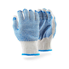 Dromex 7gg Machine Knitted (crochet) 750gpd with Blue PVC Double Dotted Seamless Gloves - Safety Supplies  Hand Protection - PPE, Workwear, Conti Suits, Zeroflame and Acid, Safety Equipment, SAFETY SUPPLIES - Safety supplies