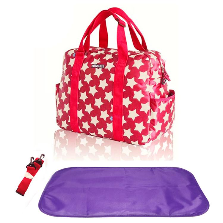 This Jolouise Star Diaper Bag is lightweight and has a vibrant colour perfect for those summery walks or picnics in the park with your little ones. It's made with waterproof polyester and has adequate storage compartments for bottles, diapers, snacks, toys and valuables.