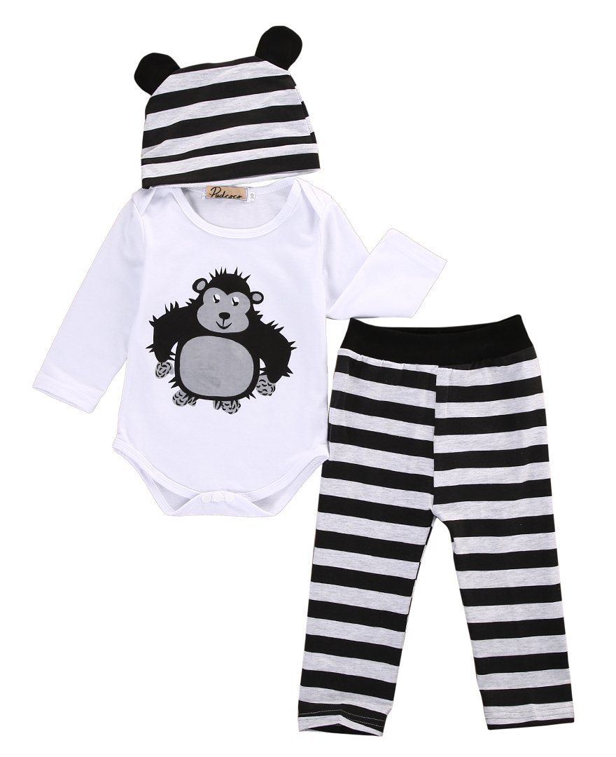 Gorilla 3 Piece Outfit Set|Romper, Pants and Hat|0-18 months