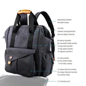 Gabesy Diaper Backpack, Color - Dark gray