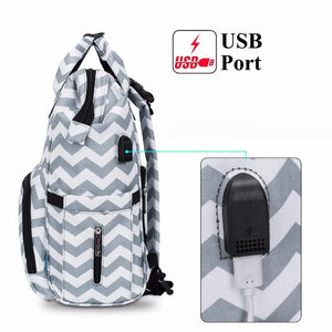 This Brinch Diaper Backpack Bag (with USB 2.0 port) is made of polyester material with adequate storage compartments for bottles, diapers, snacks, toys and phones.
