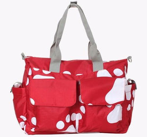 Red and White Paw Print Diaper Bag