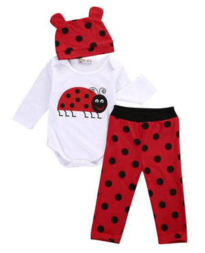 Lady Bug 3 Piece Outfit Set|Romper, Pants and Hat|0-18 months