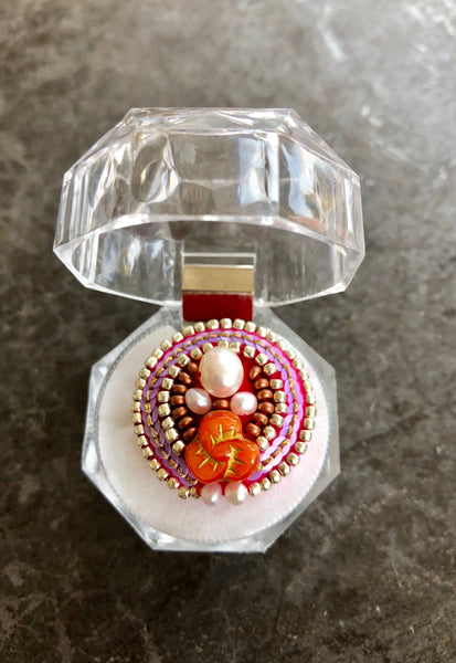 one-of-a-kind cocktail ring +orange & pink