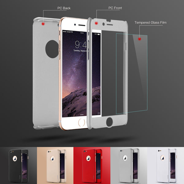 360° Premium Armor Tempered Glass iPhone Case