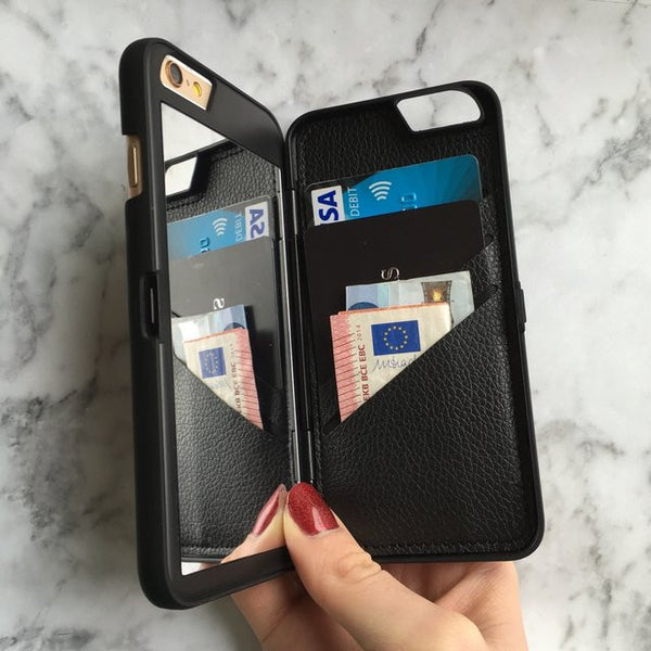 Hidden Mirror + Wallet iPhone Case