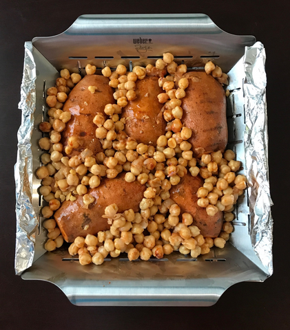 Sweet potato in grill wok with chick peas