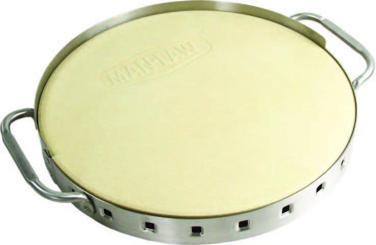 Man Law Pizza Stone With Stainless Steel Frame