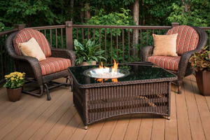 Naples Wicker Fire Table - Southern Grillin'