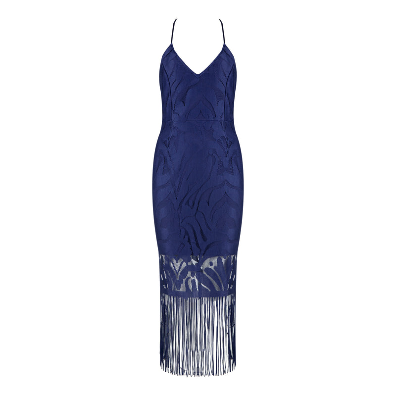 Lola Bandage Lace Dress: Navy