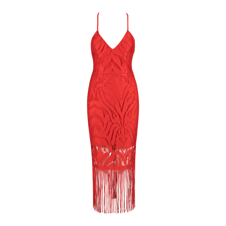 Lola Bandage Lace Dress: Red