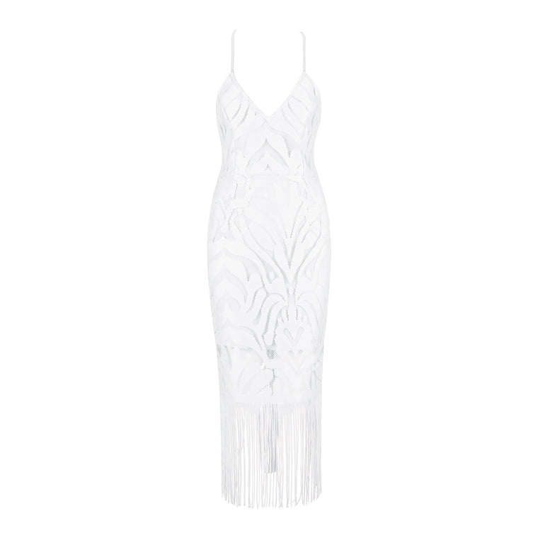 Lola Bandage Lace Dress: White