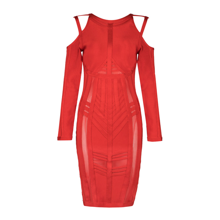 Jade Bandage Dress: Red