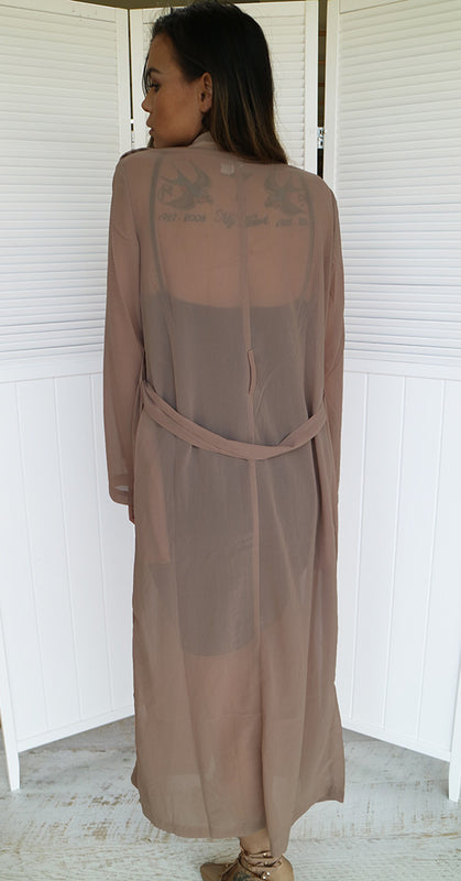 Chiffon Sheer Trench Coat - Taupe