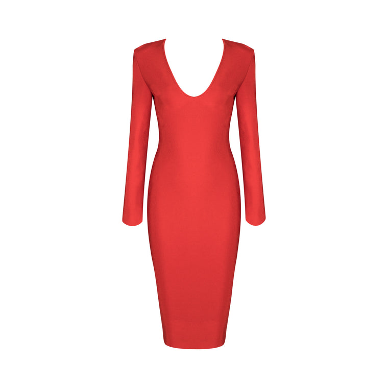 Valentina Bandage Dress: Red