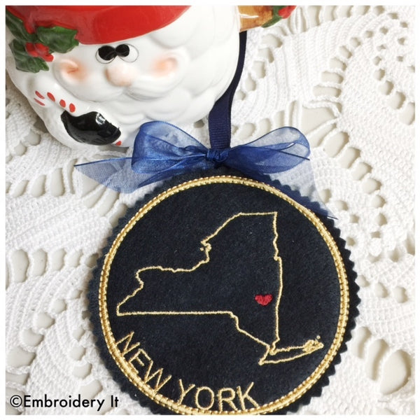 Machine embroidery New York in the hoop Christmas ornament design
