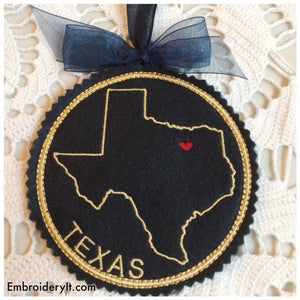 Machine embroidery Texas Christmas ornament and coaster in the hoop design