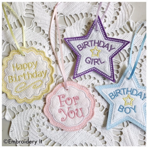 Machine embroidery applique birthday tag set