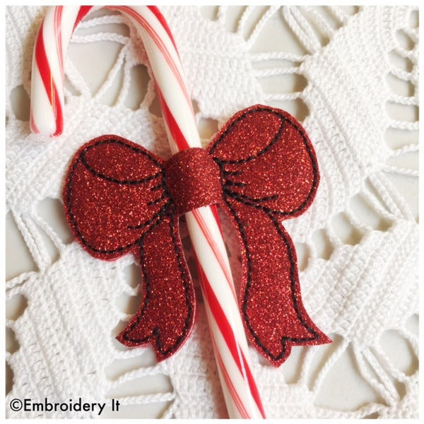 in the hoop machine embroidery candy cane bow slider