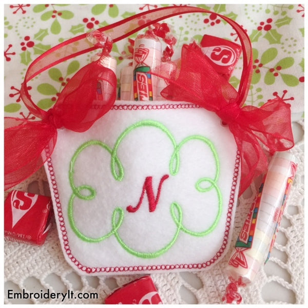 monogram basket machine embroidery pattern in the hoop candy holder