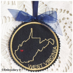 Machine embroidery in the hoop West Virginia Christmas ornament design
