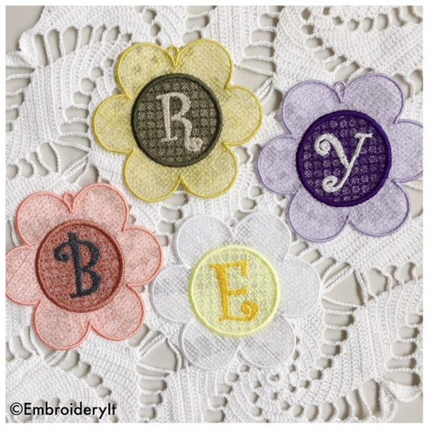 In the hoop machine embroidery flower alphabet set
